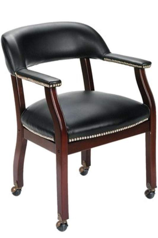 Black rolling guest chair with brown base