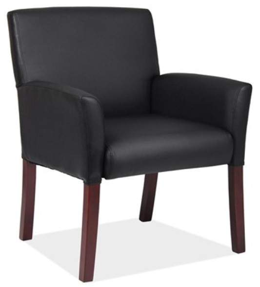 Black leather chair with brown legs
