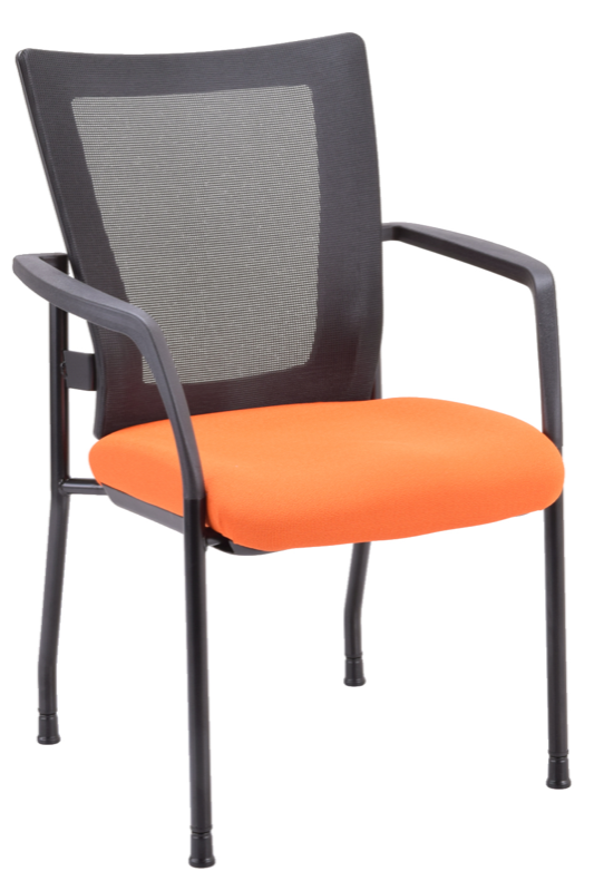 Black guest chair with orange seat