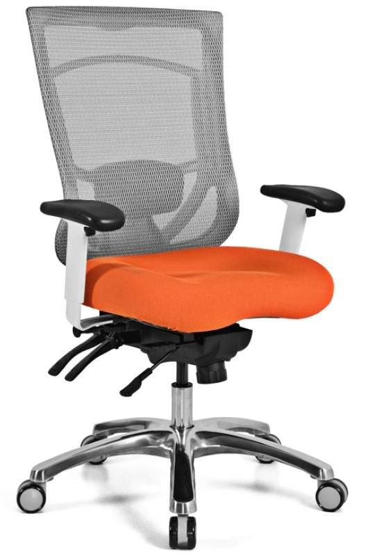 Gray Swivel Chair with Orange Seat