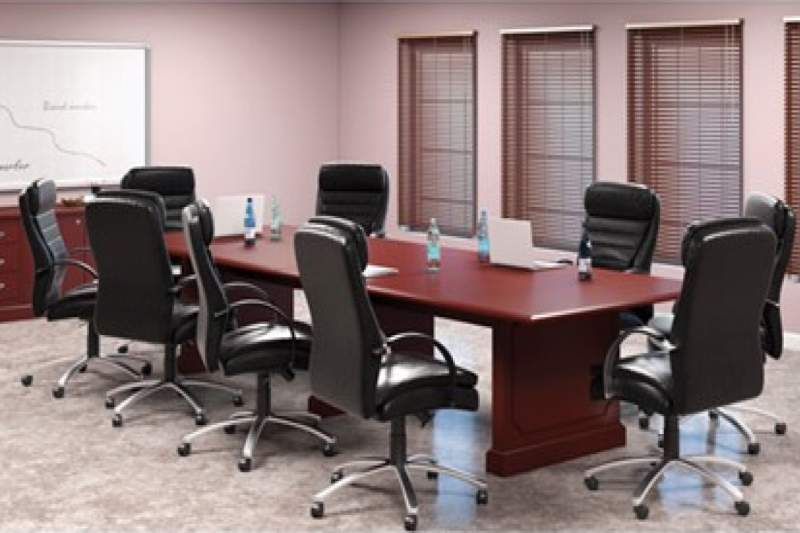 Burgundy conference table
