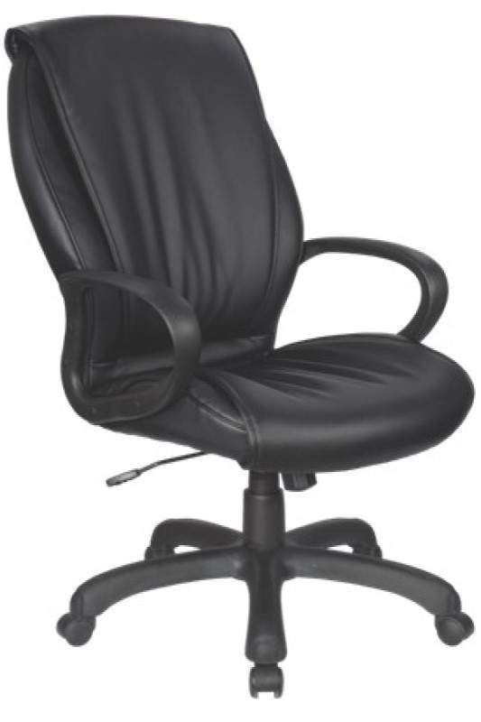 Black leather chair with black base