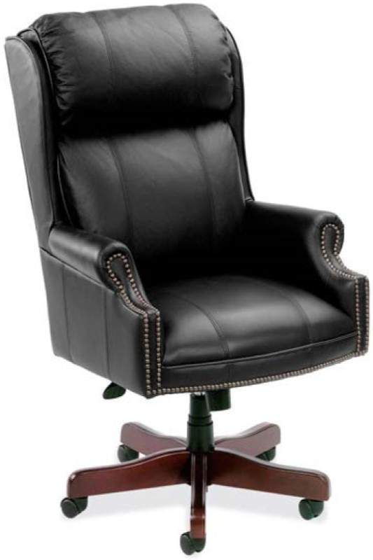 Black leather chair with a brown base