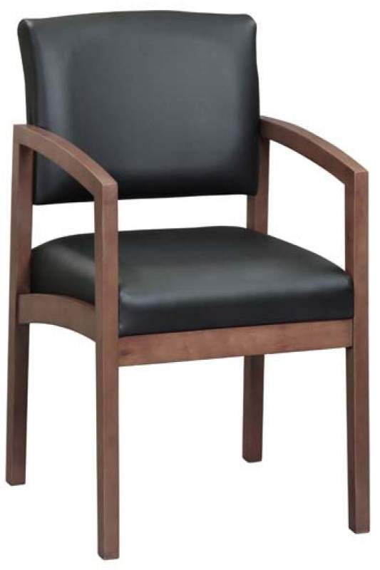 Black guest chair with brown base